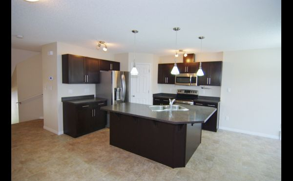 Gourmet kitchen with huge island and upgraded appliances