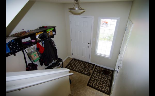 Large entry leading up to main or down to basement